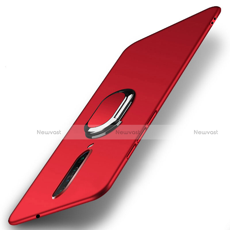 Hard Rigid Plastic Matte Finish Case Cover with Magnetic Finger Ring Stand A01 for Xiaomi Redmi K30 5G Red