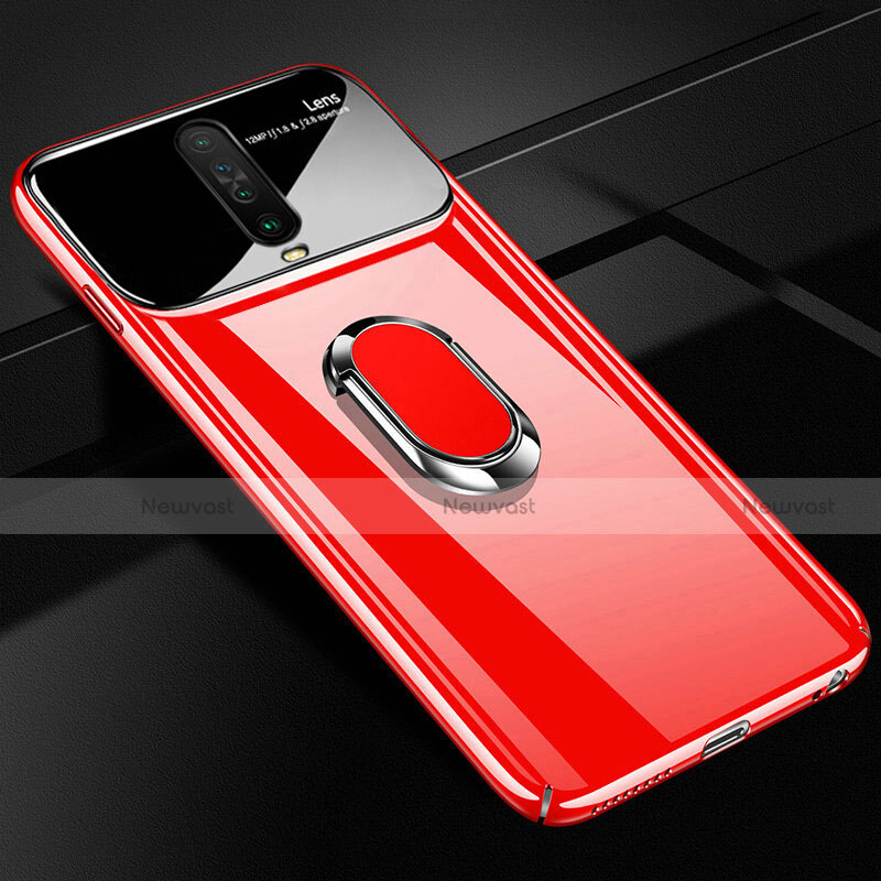 Hard Rigid Plastic Matte Finish Case Cover with Magnetic Finger Ring Stand A02 for Xiaomi Redmi K30 5G