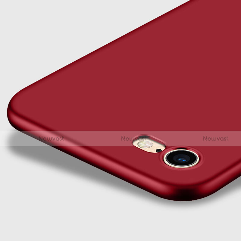 Hard Rigid Plastic Matte Finish Cover with Finger Ring Stand for Apple iPhone SE (2020) Red