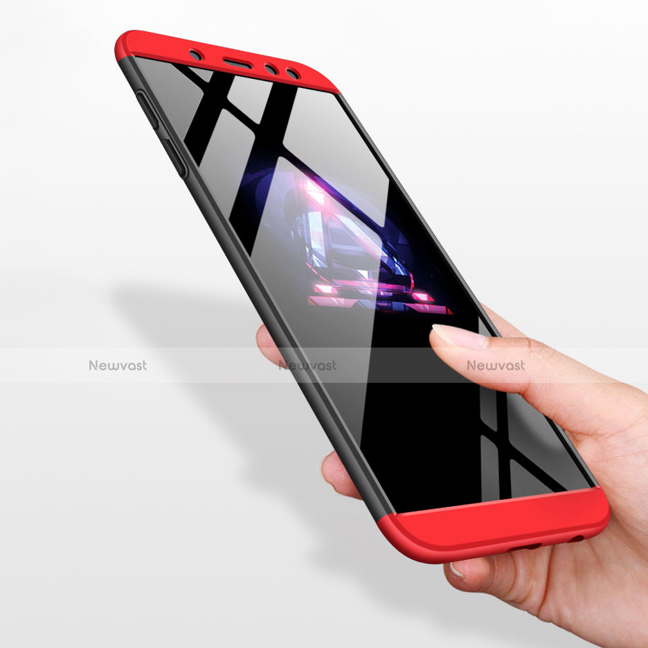 Hard Rigid Plastic Matte Finish Front and Back Case 360 Degrees for Samsung Galaxy A6 (2018) Dual SIM Red and Black
