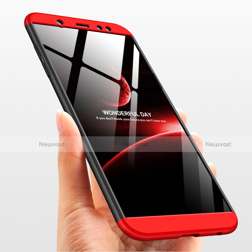 Hard Rigid Plastic Matte Finish Front and Back Case 360 Degrees for Samsung Galaxy A6 Plus Red and Black
