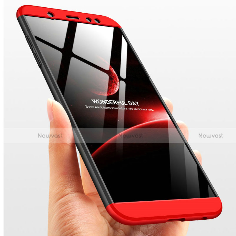Hard Rigid Plastic Matte Finish Front and Back Case 360 Degrees with Finger Ring Stand Q01 for Samsung Galaxy A6 Plus Red and Black