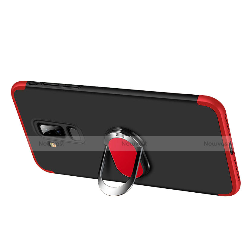 Hard Rigid Plastic Matte Finish Front and Back Case 360 Degrees with Finger Ring Stand Q01 for Samsung Galaxy A9 Star Lite Red and Black