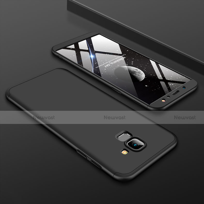 Hard Rigid Plastic Matte Finish Front and Back Cover Case 360 Degrees for Samsung Galaxy A6 (2018) Black