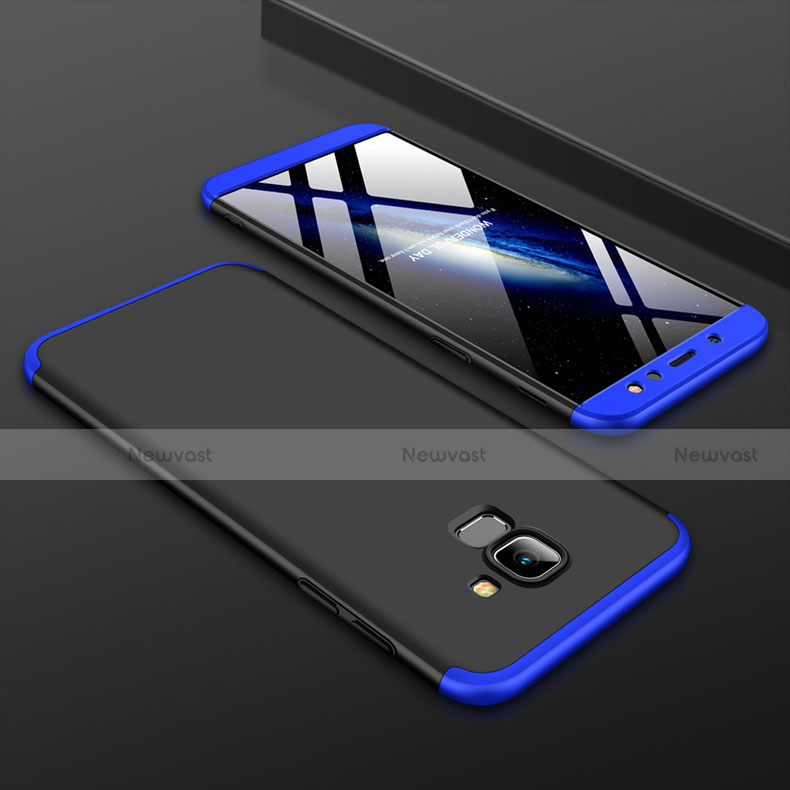 Hard Rigid Plastic Matte Finish Front and Back Cover Case 360 Degrees for Samsung Galaxy A6 (2018) Blue and Black