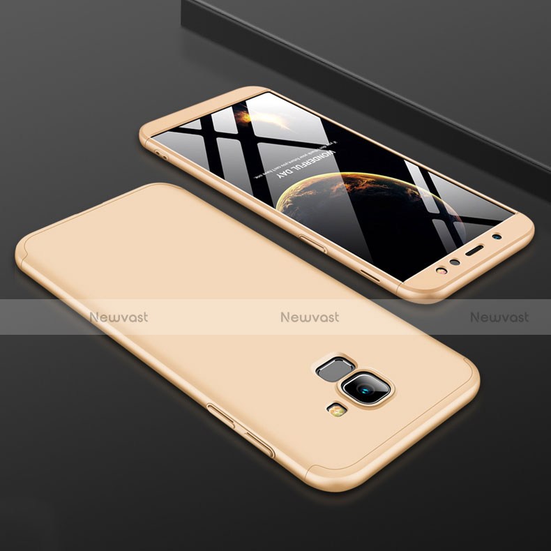Hard Rigid Plastic Matte Finish Front and Back Cover Case 360 Degrees for Samsung Galaxy A6 (2018) Dual SIM Gold