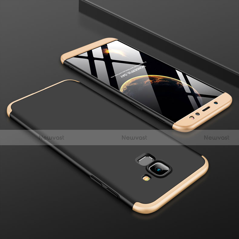 Hard Rigid Plastic Matte Finish Front and Back Cover Case 360 Degrees for Samsung Galaxy A6 (2018) Dual SIM Gold and Black