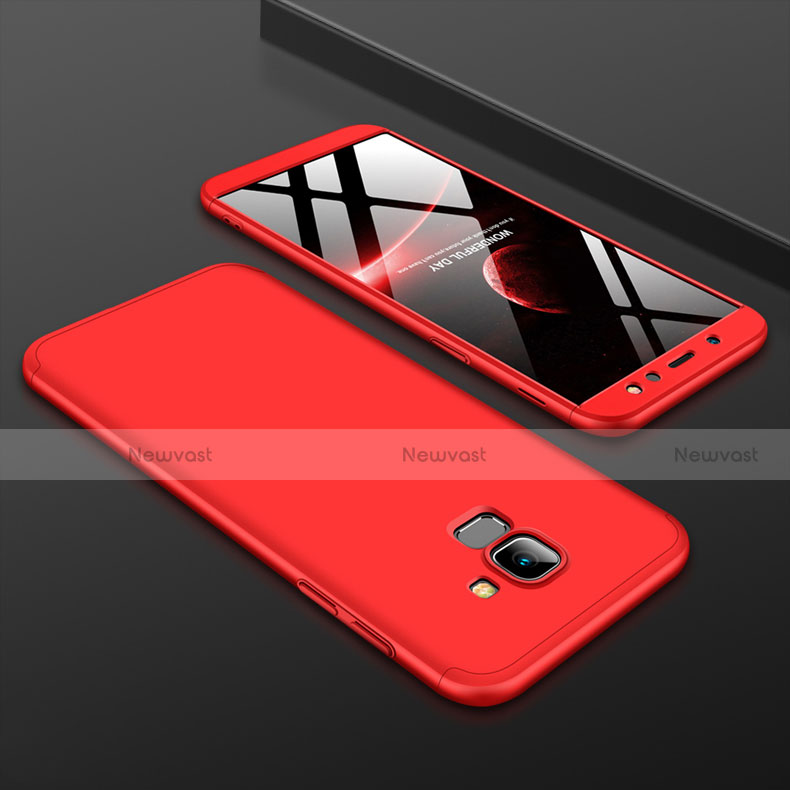 Hard Rigid Plastic Matte Finish Front and Back Cover Case 360 Degrees for Samsung Galaxy A6 (2018) Red