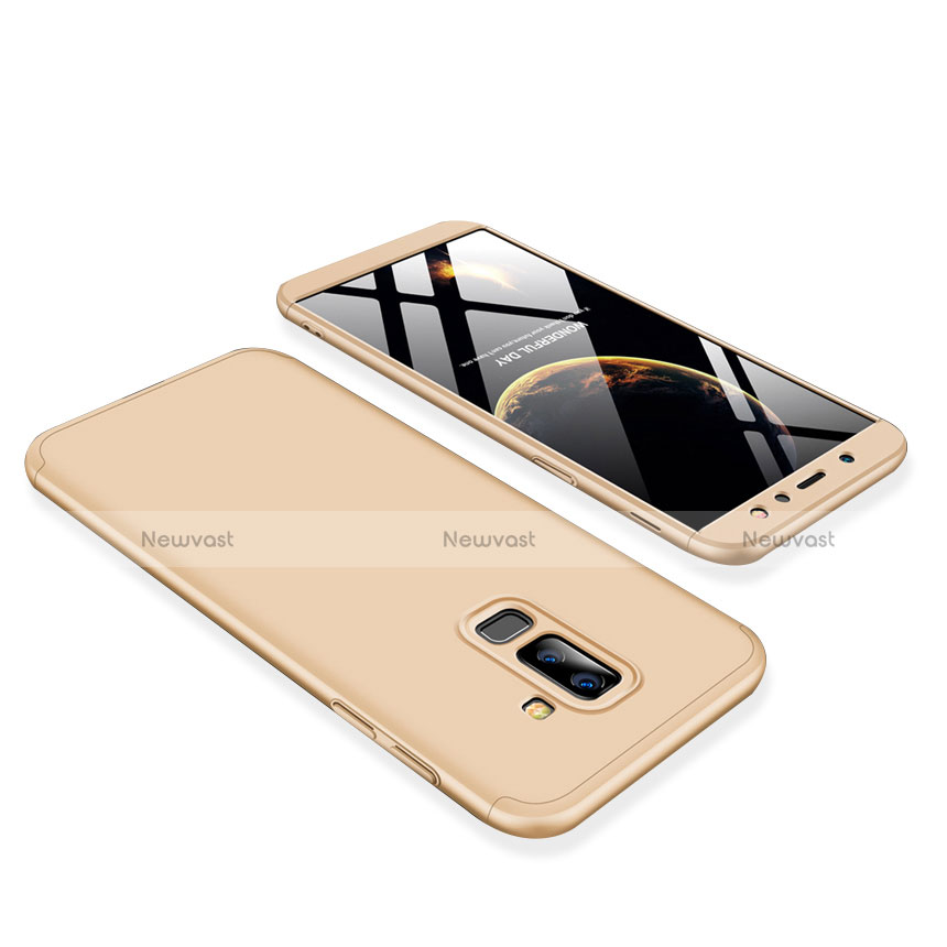 Hard Rigid Plastic Matte Finish Front and Back Cover Case 360 Degrees for Samsung Galaxy A6 Plus Gold
