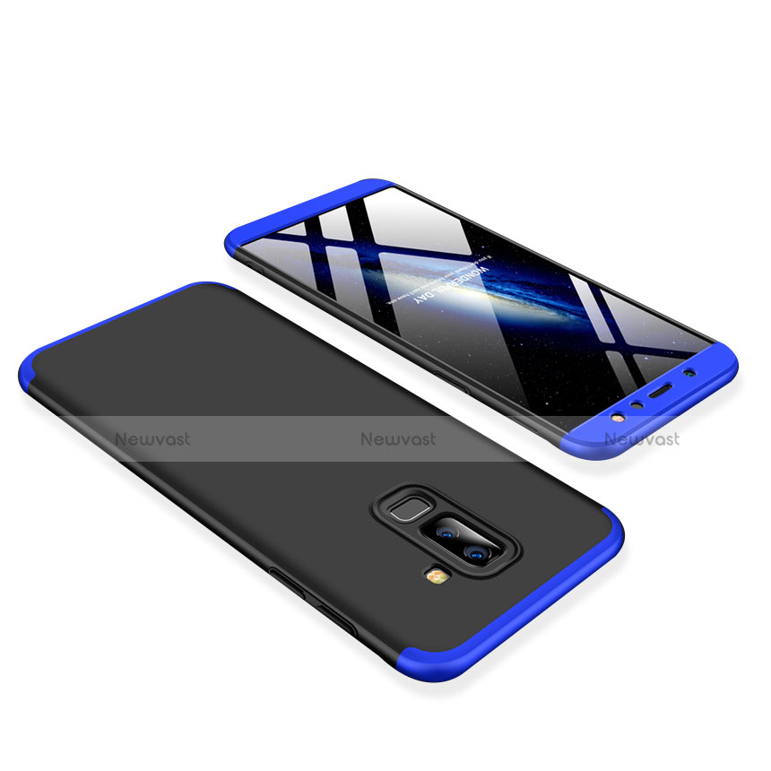 Hard Rigid Plastic Matte Finish Front and Back Cover Case 360 Degrees for Samsung Galaxy A9 Star Lite Blue and Black