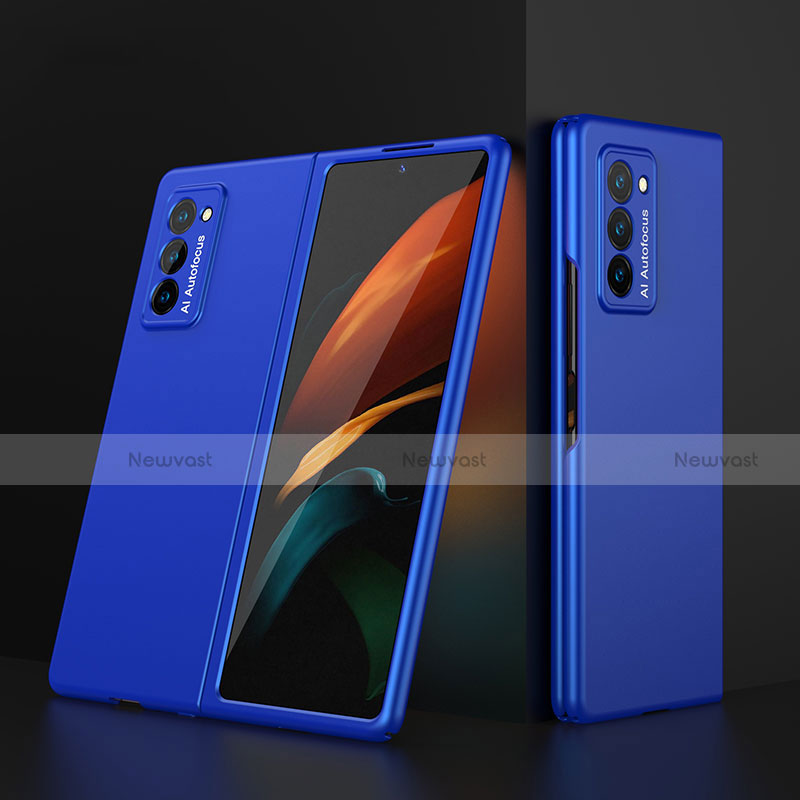Hard Rigid Plastic Matte Finish Front and Back Cover Case 360 Degrees for Samsung Galaxy Z Fold2 5G Blue