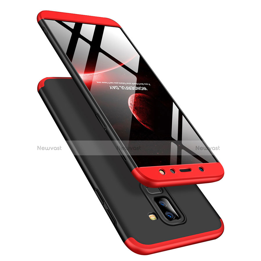 Hard Rigid Plastic Matte Finish Front and Back Cover Case 360 Degrees with Finger Ring Stand for Samsung Galaxy A6 Plus
