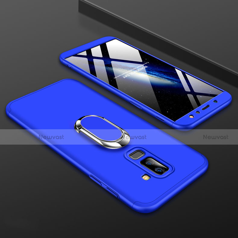 Hard Rigid Plastic Matte Finish Front and Back Cover Case 360 Degrees with Finger Ring Stand for Samsung Galaxy A6 Plus Blue