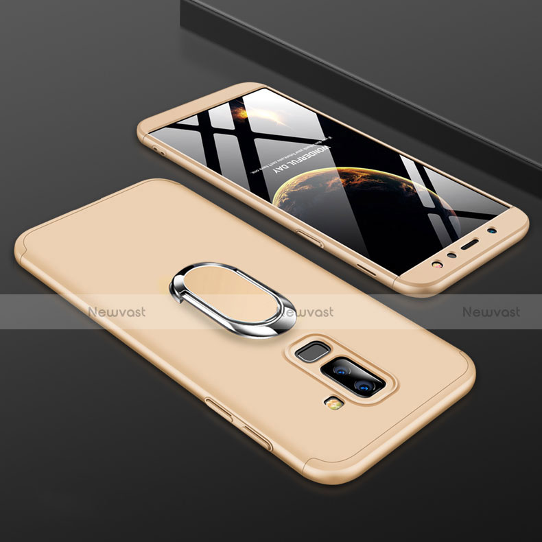 Hard Rigid Plastic Matte Finish Front and Back Cover Case 360 Degrees with Finger Ring Stand for Samsung Galaxy A6 Plus Gold