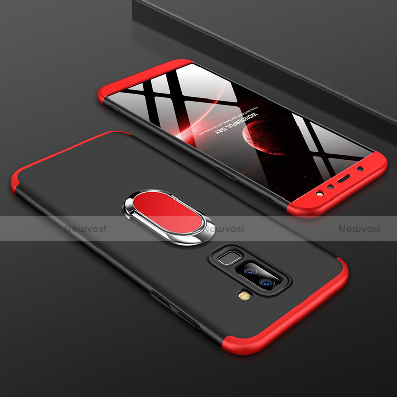 Hard Rigid Plastic Matte Finish Front and Back Cover Case 360 Degrees with Finger Ring Stand for Samsung Galaxy A6 Plus Red and Black