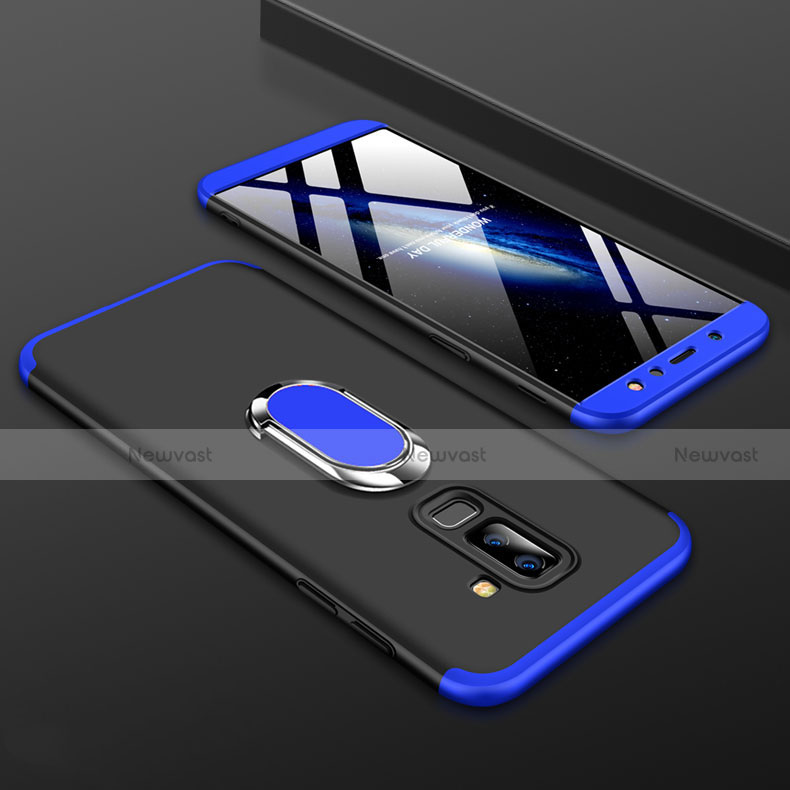 Hard Rigid Plastic Matte Finish Front and Back Cover Case 360 Degrees with Finger Ring Stand for Samsung Galaxy A9 Star Lite Blue and Black