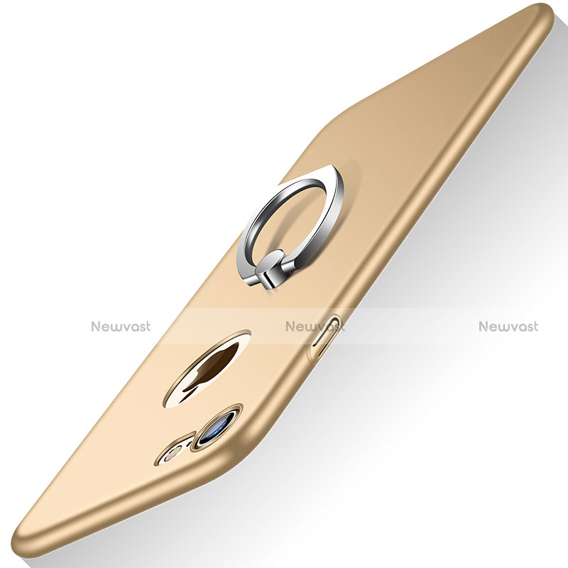 Hard Rigid Plastic Matte Finish Snap On Case with Finger Ring Stand A02 for Apple iPhone SE (2020) Gold