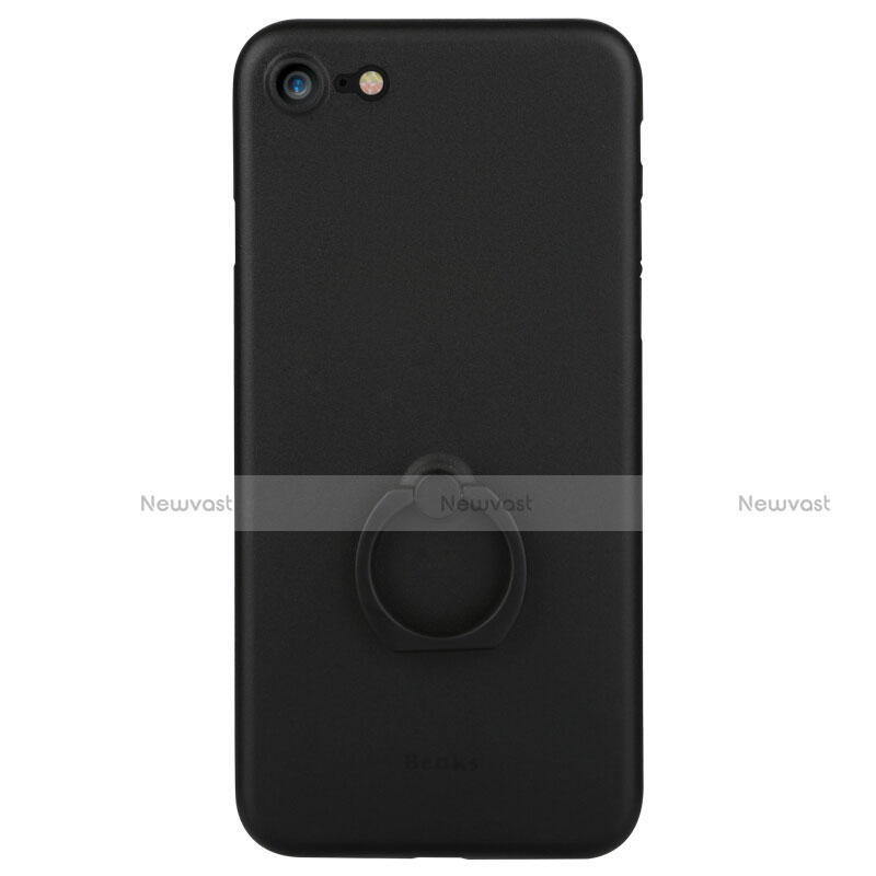 Hard Rigid Plastic Matte Finish Snap On Case with Finger Ring Stand F01 for Apple iPhone SE (2020) Black