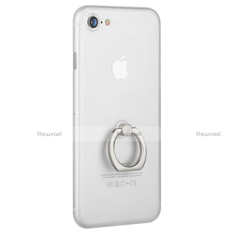 Hard Rigid Plastic Matte Finish Snap On Case with Finger Ring Stand F01 for Apple iPhone SE (2020) White