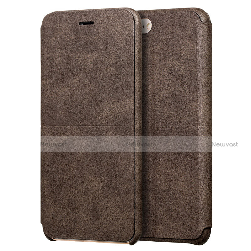 Leather Case Stands Flip Cover for Apple iPhone SE (2020) Brown