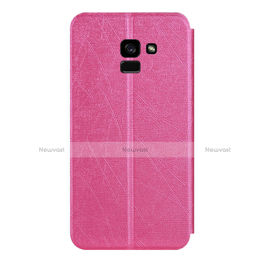 Leather Case Stands Flip Cover for Samsung Galaxy A5 (2018) A530F Hot Pink