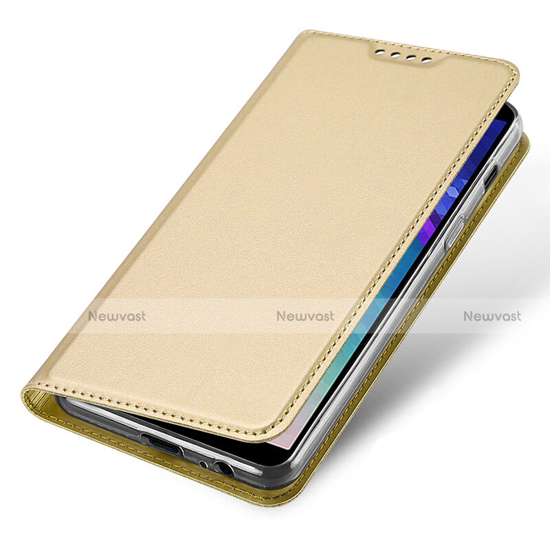 Leather Case Stands Flip Cover for Samsung Galaxy A6 (2018) Dual SIM Gold