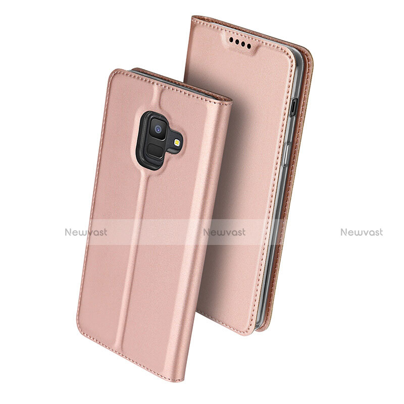 Leather Case Stands Flip Cover for Samsung Galaxy A6 (2018) Rose Gold