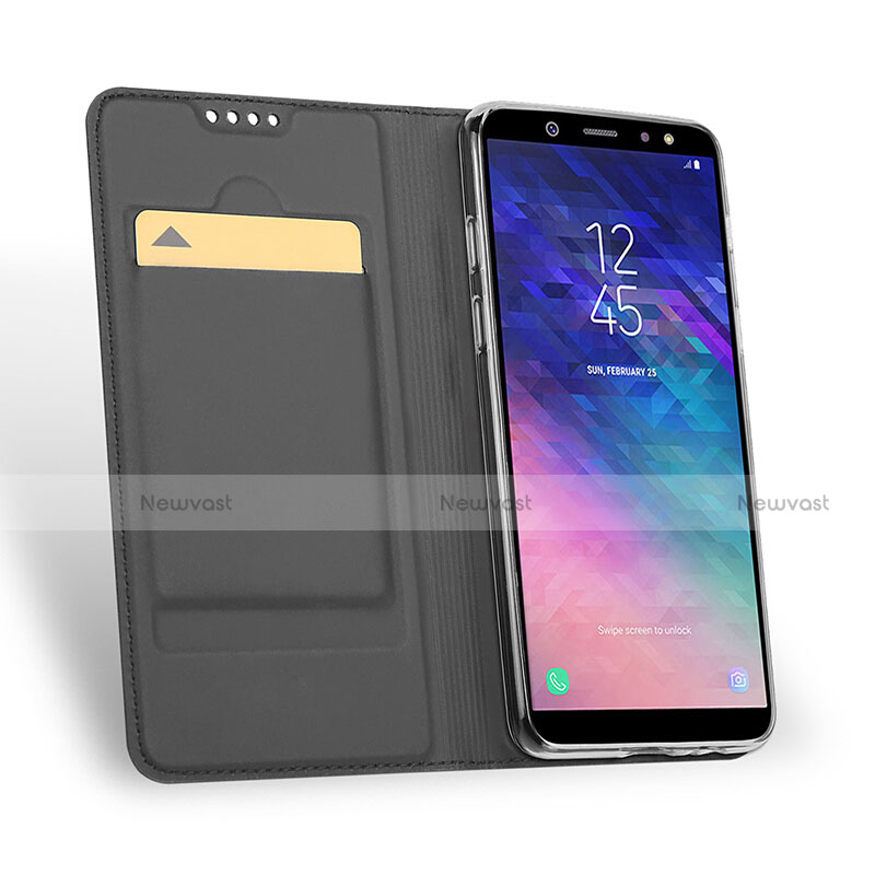 Leather Case Stands Flip Cover for Samsung Galaxy A6 Plus Black