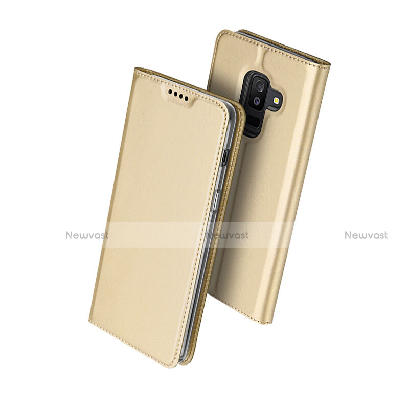 Leather Case Stands Flip Cover for Samsung Galaxy A6 Plus Gold