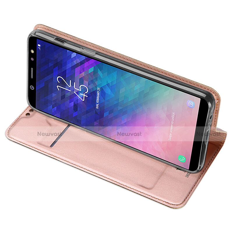 Leather Case Stands Flip Cover for Samsung Galaxy A6 Plus Pink