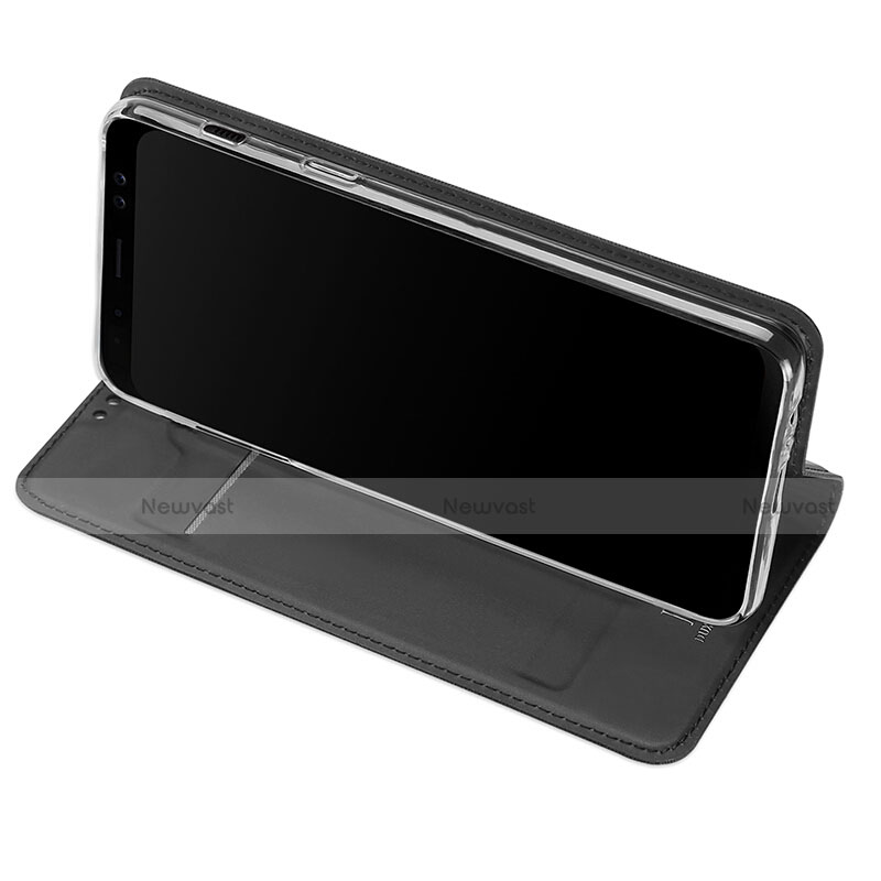 Leather Case Stands Flip Cover for Samsung Galaxy A8 (2018) A530F Black