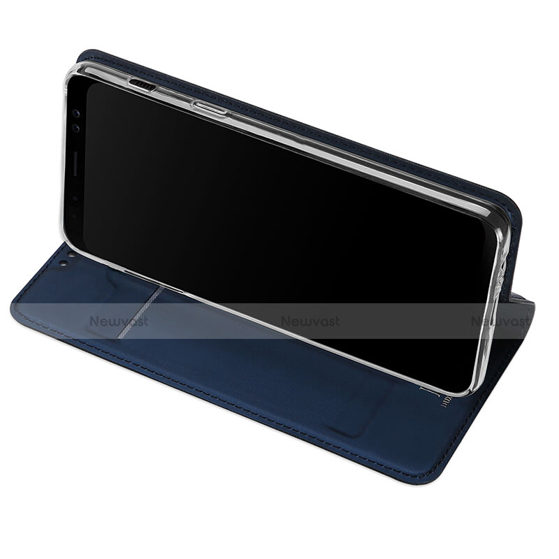 Leather Case Stands Flip Cover for Samsung Galaxy A8 (2018) A530F Blue