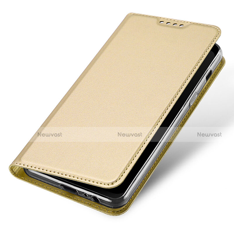 Leather Case Stands Flip Cover for Samsung Galaxy A8 (2018) A530F Gold