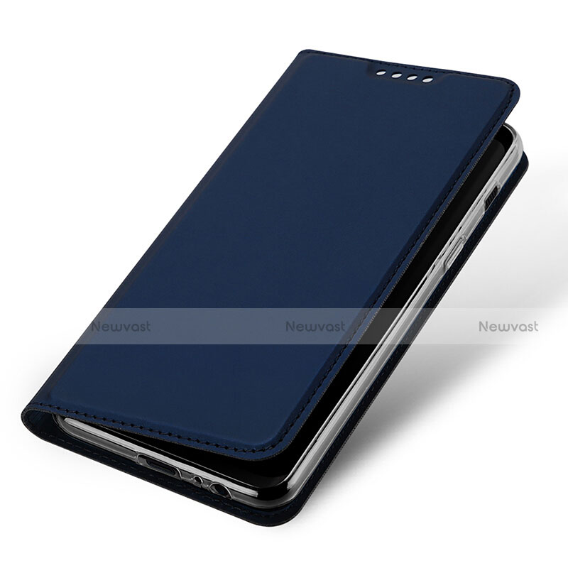 Leather Case Stands Flip Cover for Samsung Galaxy A8 (2018) Duos A530F Blue