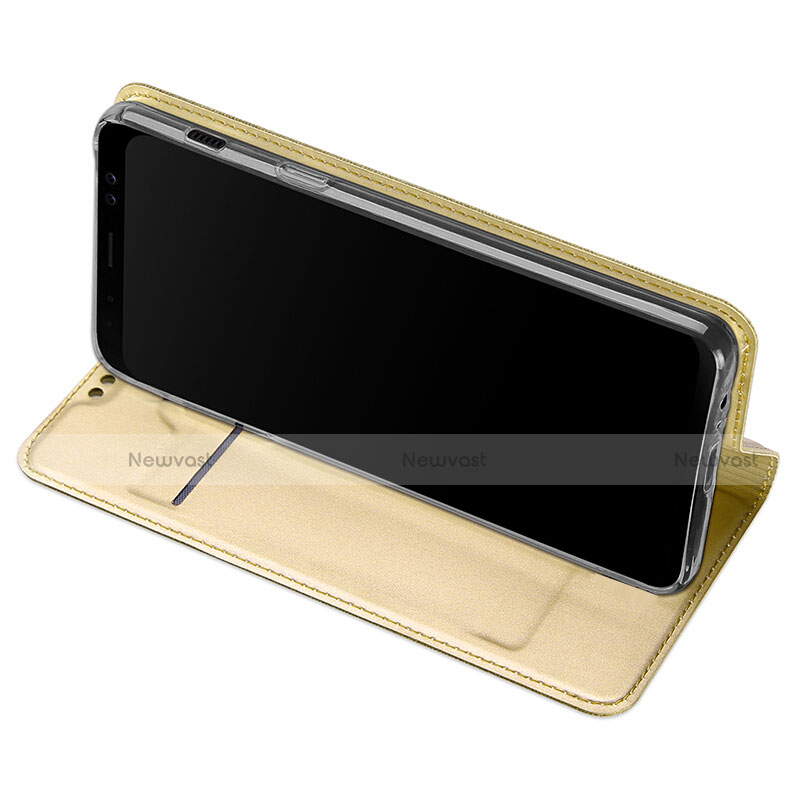 Leather Case Stands Flip Cover for Samsung Galaxy A8+ A8 Plus (2018) A730F Gold