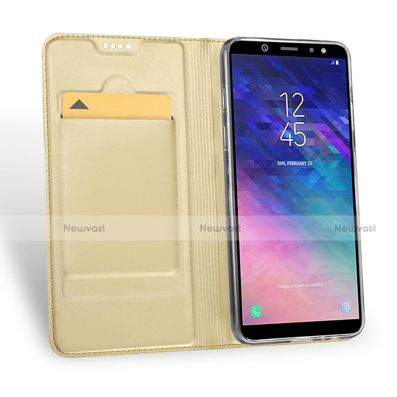 Leather Case Stands Flip Cover for Samsung Galaxy A9 Star Lite Gold