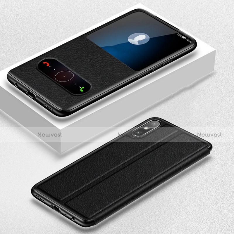 Leather Case Stands Flip Cover Holder for Huawei Enjoy 10e Black