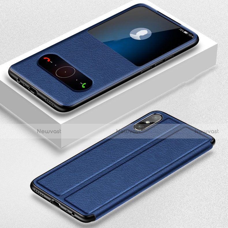Leather Case Stands Flip Cover Holder for Huawei Enjoy 10e Blue
