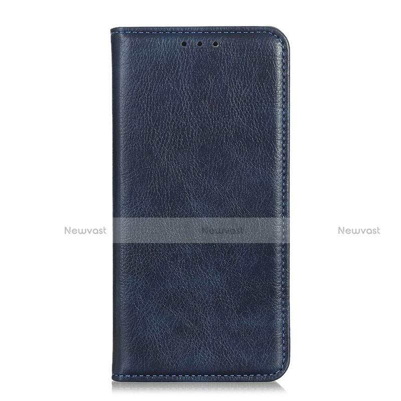 Leather Case Stands Flip Cover Holder for Huawei Y8p Blue