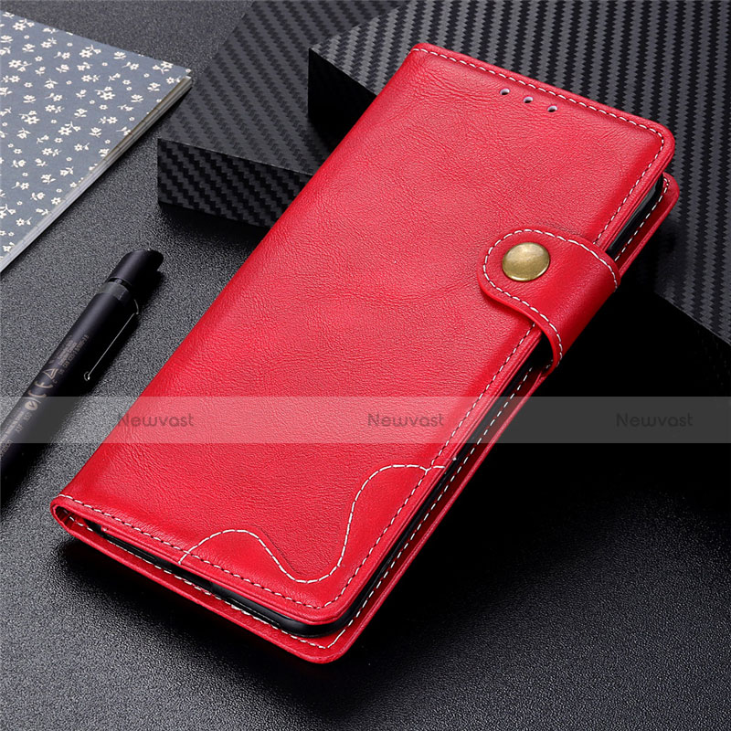 Leather Case Stands Flip Cover Holder for Motorola Moto G9 Plus Red