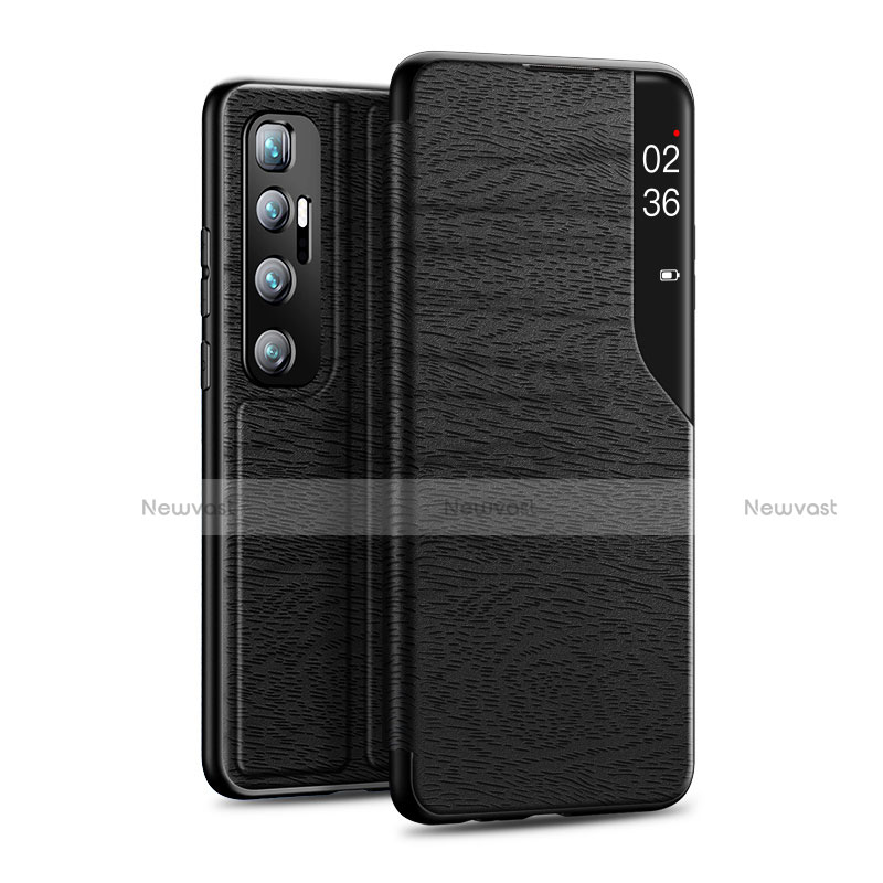 Leather Case Stands Flip Cover Holder for Xiaomi Mi 10 Ultra Black