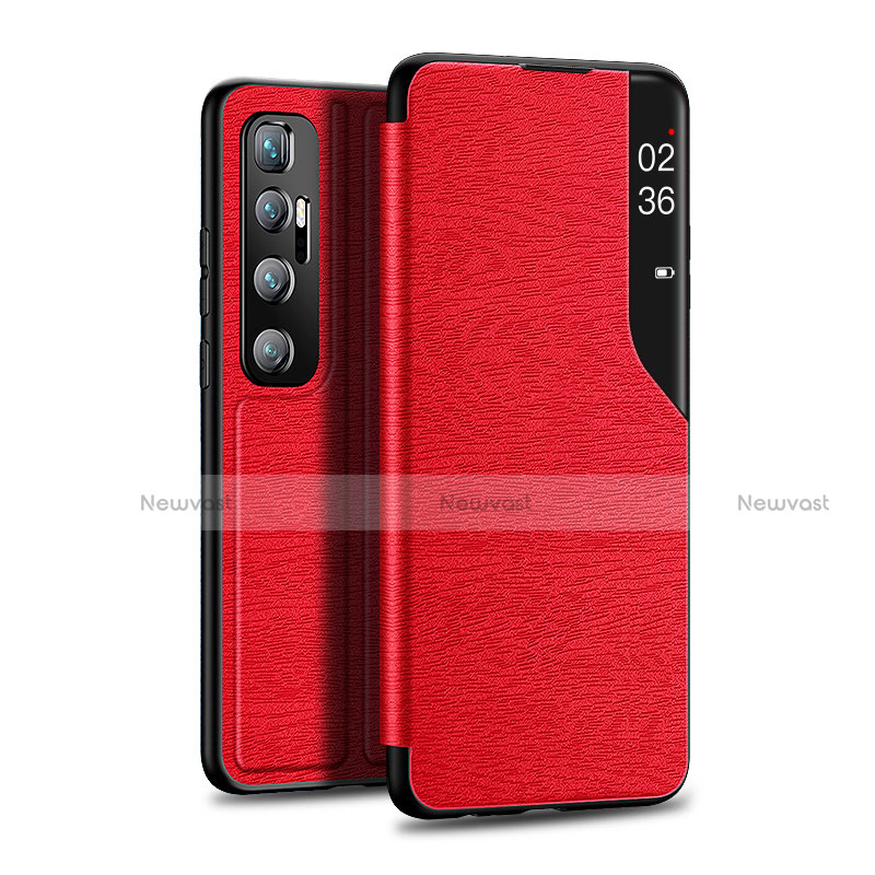Leather Case Stands Flip Cover Holder for Xiaomi Mi 10 Ultra Red
