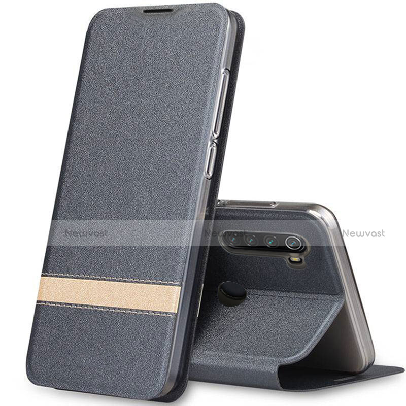 Leather Case Stands Flip Cover Holder for Xiaomi Redmi Note 8 Gray