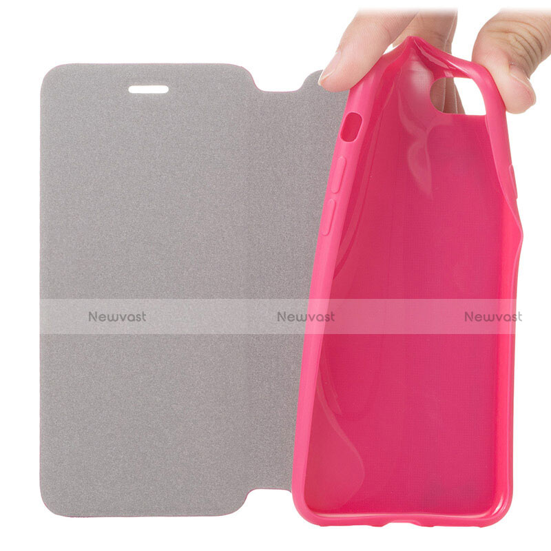 Leather Case Stands Flip Cover L01 for Apple iPhone SE (2020) Hot Pink
