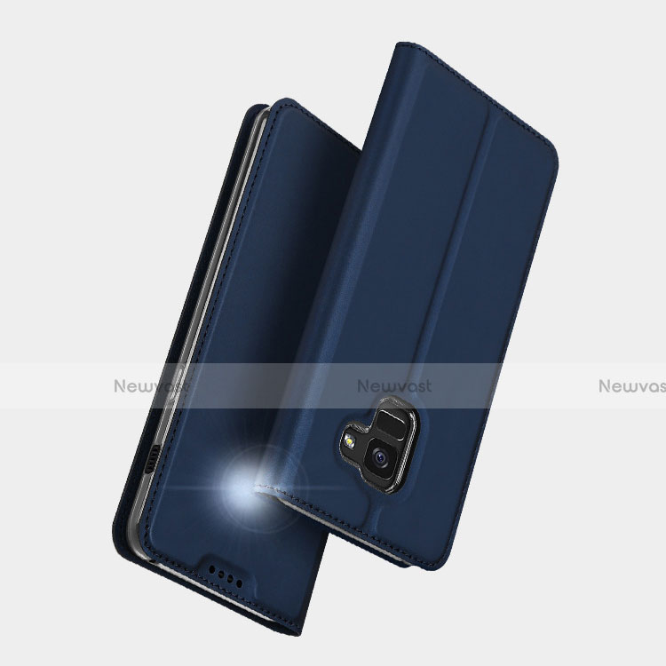 Leather Case Stands Flip Cover L01 for Samsung Galaxy A5 (2018) A530F Blue