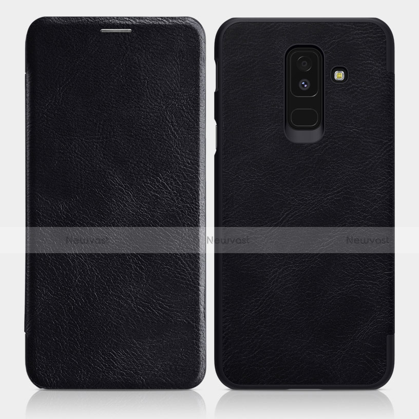 Leather Case Stands Flip Cover L01 for Samsung Galaxy A6 Plus Black