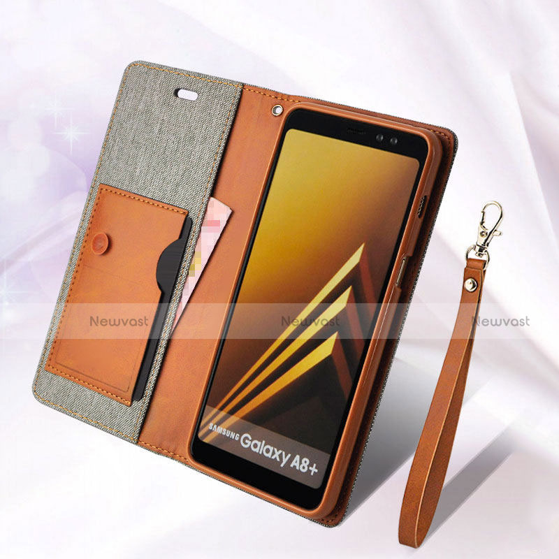 Leather Case Stands Flip Cover L01 for Samsung Galaxy A8 (2018) Duos A530F Gray