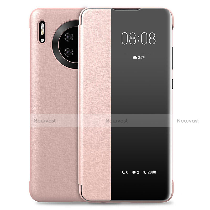 Leather Case Stands Flip Cover L01 Holder for Huawei Mate 30 Pro 5G Rose Gold