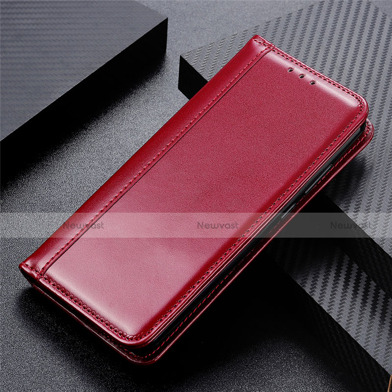 Leather Case Stands Flip Cover L01 Holder for Oppo Reno3 A Red Wine