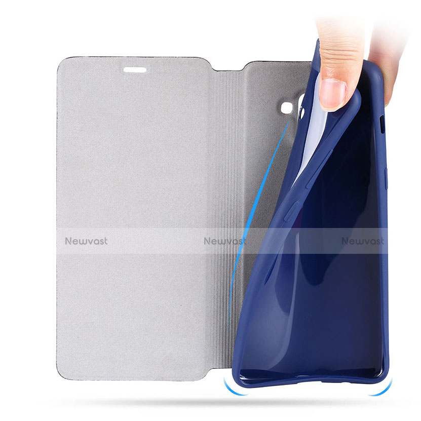 Leather Case Stands Flip Cover L02 for Samsung Galaxy A8 (2018) A530F Blue